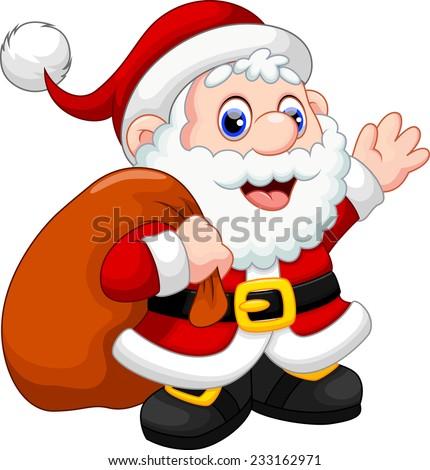 Cute santa claus cartoon waving and carrying christmas gift stock