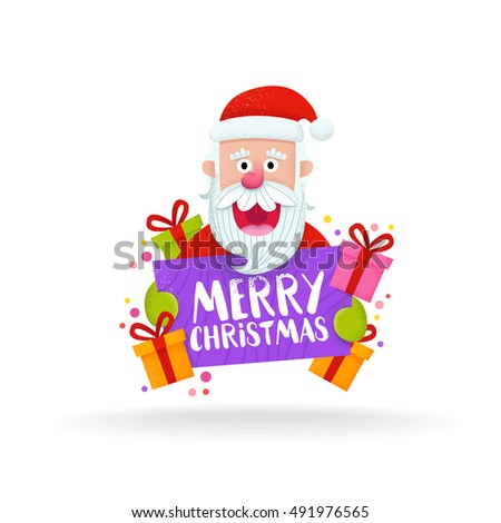 cute santa claus face cartoon style christmas and new year label and emblem