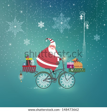 cute santa claus on bicycle