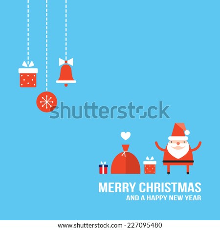 Cute Santa Claus with Christmas presents and gifts New Year Holiday greeting card banner design template Vector illustration