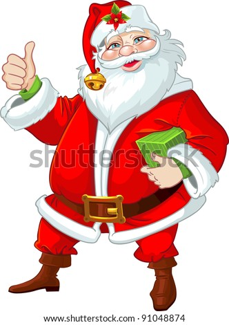 Cute Santa Claus with gift
