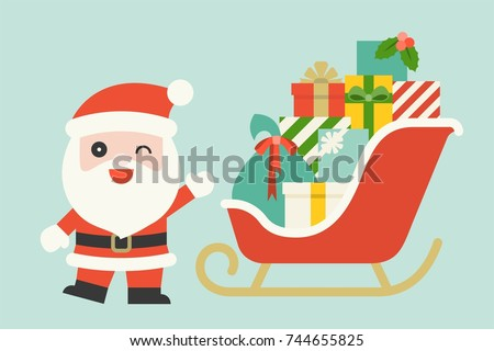 cute Santa Claus with pile of gift boxes on Christmas sleigh, flat design vector