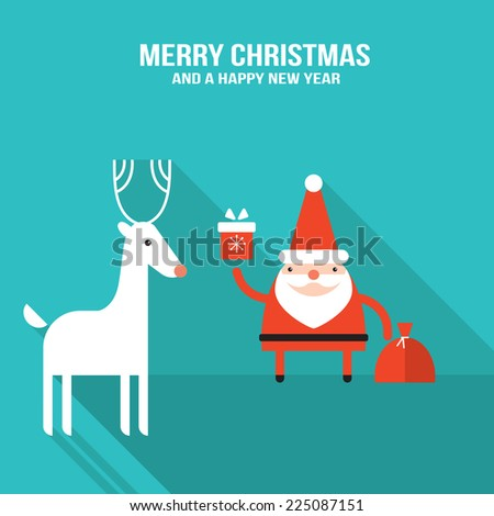 Cute Santa Claus with presents and Christmas deer New Year Holiday greeting card banner design template Vector illustration