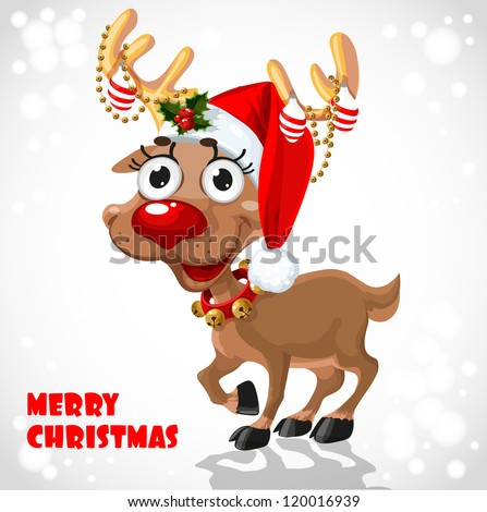 Cute Santa Reindeer with christmas decorations on horn