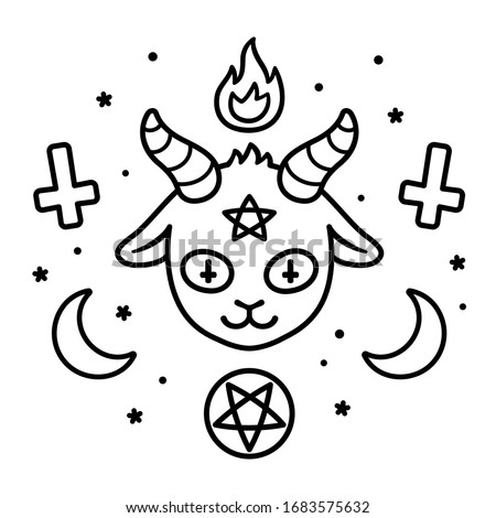 Cute Satan sign drawing, cartoon devil goat head with pentagram, fire, crescent moons and upside down crosses. Black and white satanic symbols doodle, tattoo design vector illustration. ストックフォト ©