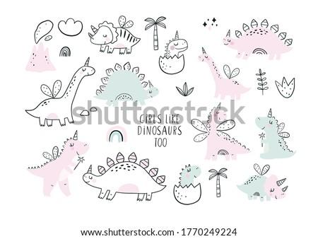 Cute scandinavian print with Unicorn Dinosaur. Hand drawn Dino Princess. Lettering quote - Girls Like Dinosaurs too ストックフォト ©