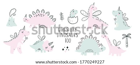 Cute scandinavian print with Unicorn Dinosaur. Hand drawn Dino Princess. Lettering quote - Girls Like Dinosaurs too