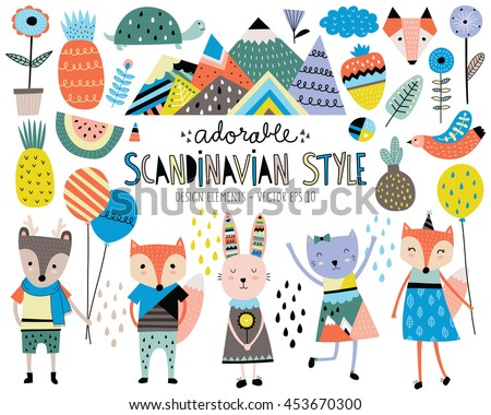 cute scandinavian style animals