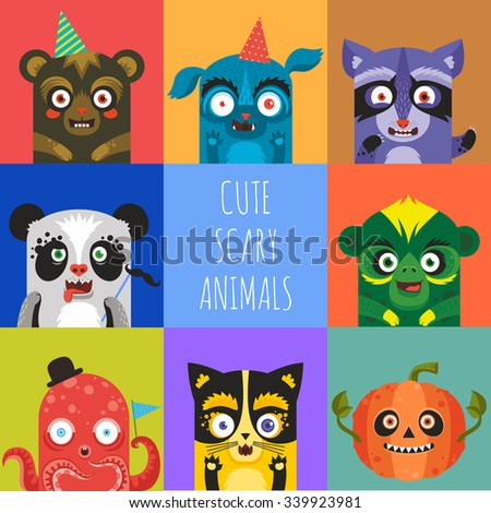 cute scary animals vector icons