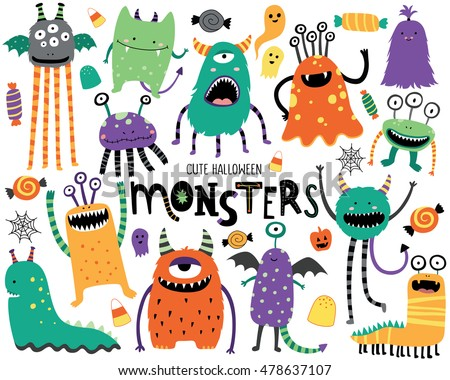 cute scary halloween monsters