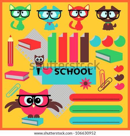 Cute school elements