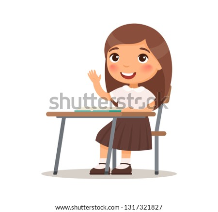 Cute school girl raises her hand for an answer. Primary school student in uniform at desk. Education concept. Pupil cartoon character. Vector flat illustration isolated on white background