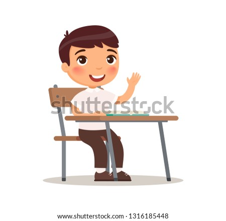 Cute schoolboy raises his hand for an answer. Vector illustration in cartoon style. Isolated on white background