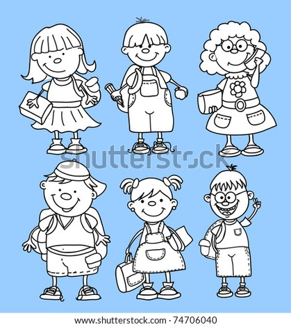 cute schoolboys and schoolgirls, School elements - stock vector