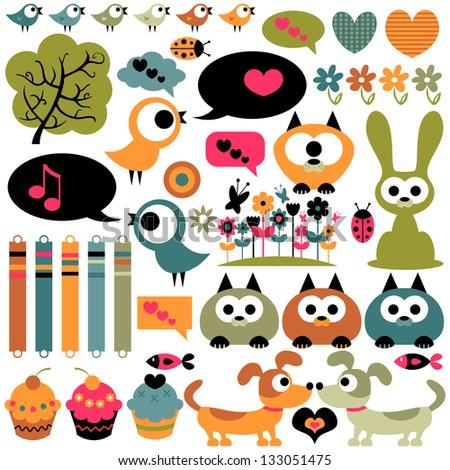 Cute scrapbook elements animals images - stock vector