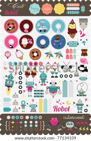 cute scrapbook sticker tag set