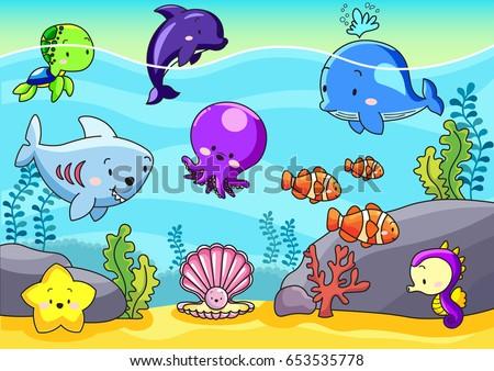 cute sea animals under the sea