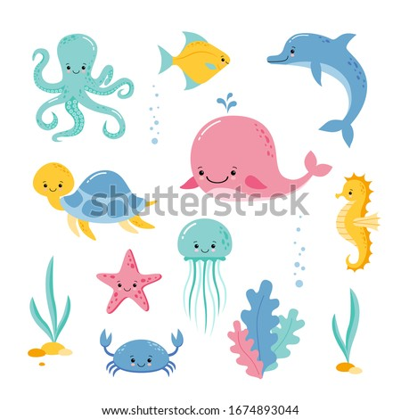 Cute sea creatures and animals vector icons isolated on white background. Kawaii style stock photo