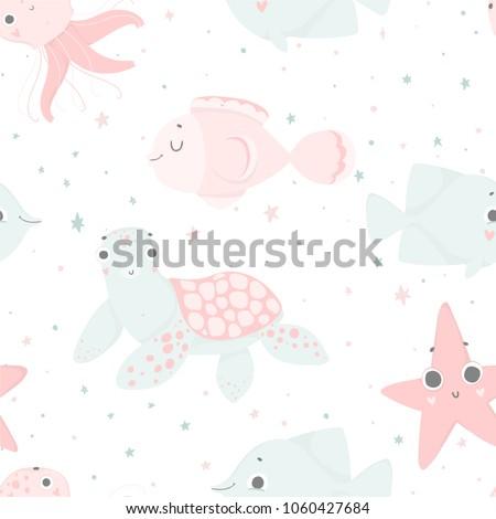 cute sea creatures  hand drawn