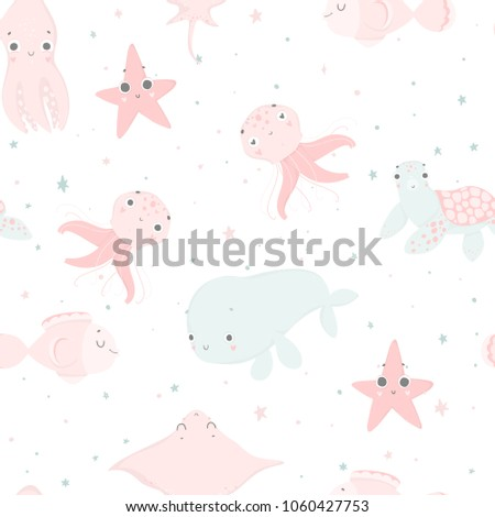 cute sea creatures  hand drawn