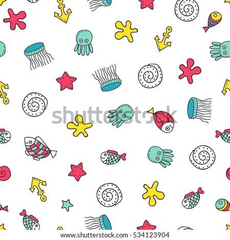 cute sea elements vector