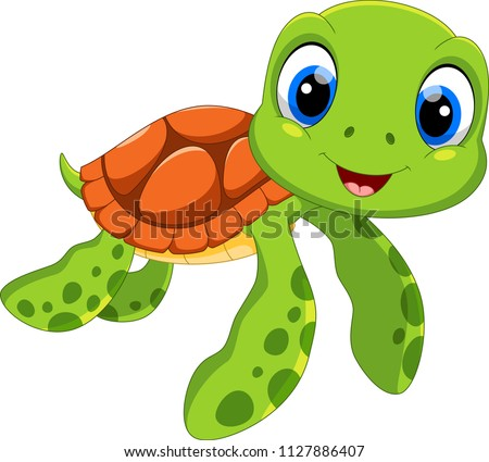 Cute sea turtle cartoon isolated on white background