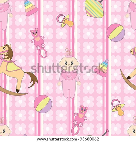 Cute seamless background for babies