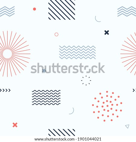 Cute seamless background. Memphis pattern. Flat concept. Fashion 80s-90s. Retro funky graphic. Vintage geometric print illustration element. Repeat banner. Vector template. Minimalist color backdrop