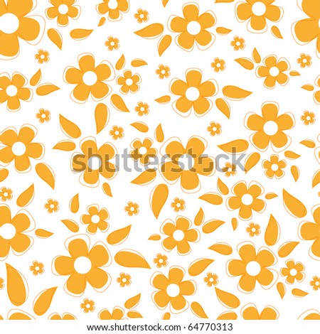 Cute seamless background with orange flowers (EPS10)