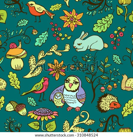 Cute seamless colorful pattern with owls, birds, flowers and forest animals. Vector illustration.