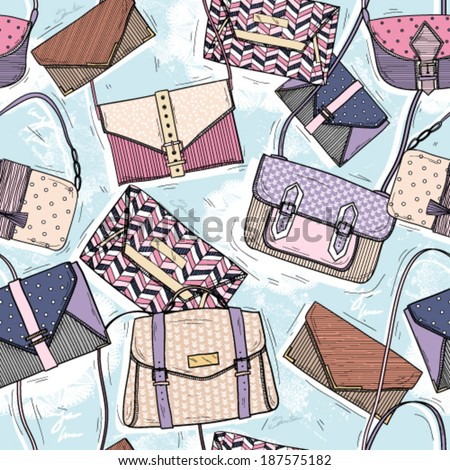Cute seamless fashion pattern for girls or woman Background with bags and purses