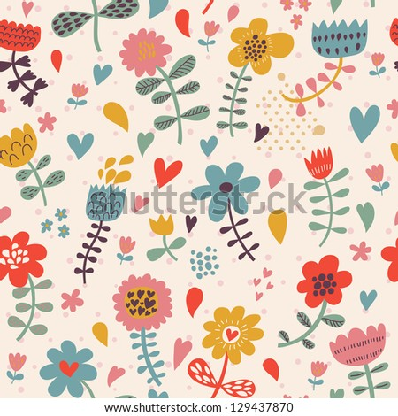 Cute seamless floral pattern. Copy square to the side and you'll get seamlessly tiling pattern which gives the resulting image ability to be repeated or tiled without visible seams.