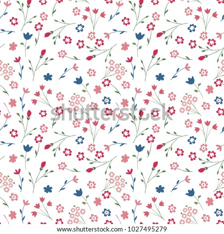 Cute seamless floral pattern. Simple flowers background for fabric, wrapping, wallpaper, paper. Baby print.