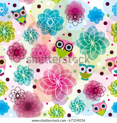 Cute Pics Of Owls. Cute seamless flower owl