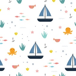 Cute seamless pattern for children undersea creature background their Fish, squid, pen, nest and with sailboat design concept used for publication, gift wrap, pattern, clothing, vector illustration