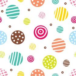 Cute seamless pattern, polka dot fabric, wallpaper, vector.