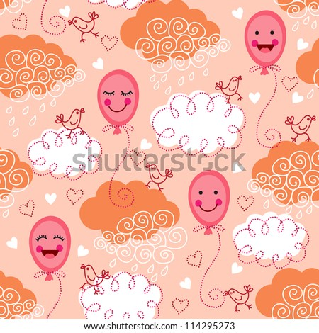 Cute seamless pattern with balloons, birds and clouds