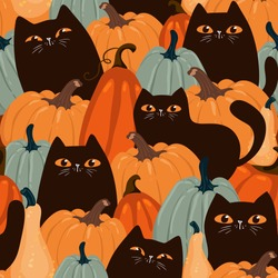 Cute seamless pattern with black cats and pumpkins. Trendy autumn colors. Vector EPS 10