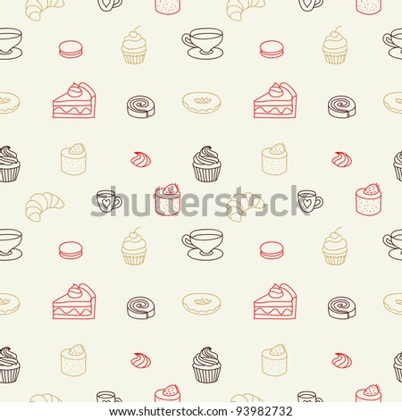 Cute seamless pattern with cakes and sweets