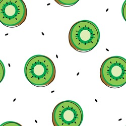 Cute seamless pattern with cartoon kiwi fruit for fabric print, textile, gift wrapping paper. colorful vector for kids, flat style