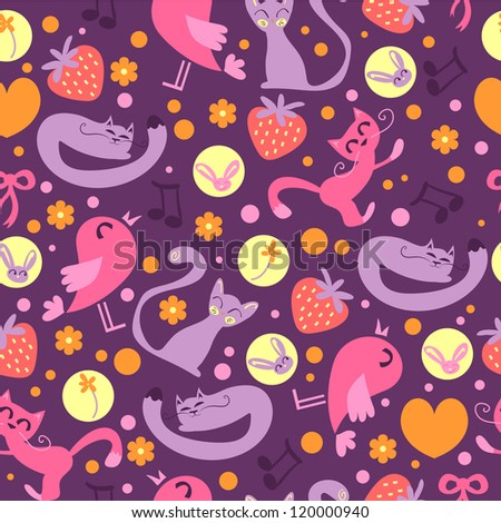 Cute seamless pattern with cats and birds