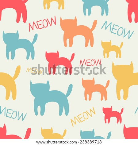 Cute seamless pattern with cats. Vector background.