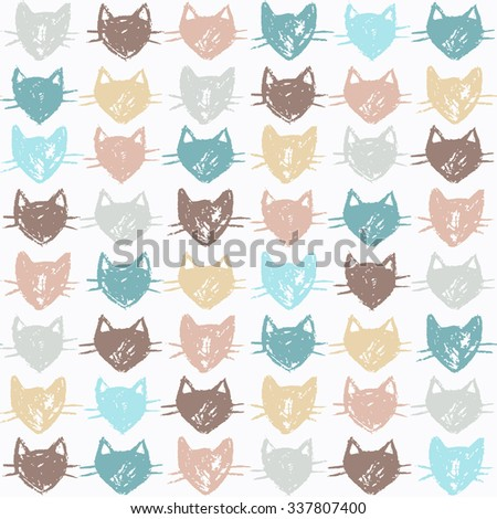 Cute seamless pattern with color hand drawn kittens