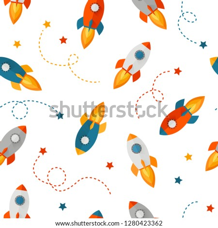 Cute seamless pattern with colorful rocket - can be used as a wallpaper for kids or to illustrate any topic about space and the universe