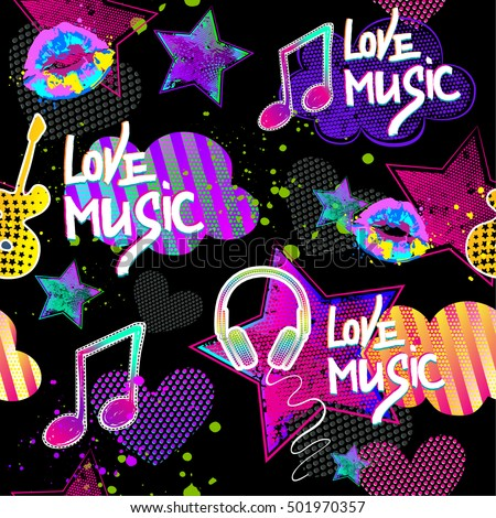 Cute seamless pattern with dots heart, clouds, handwritten text love music, guitar, kiss in neon colors. Funny childish, girlish design on black background, Repeated backdrop colorful for girls