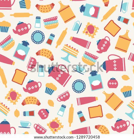cute seamless pattern with flat kitchen utensils. Vector illustration.