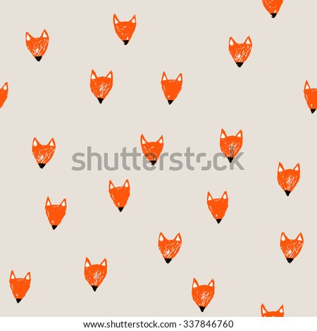 Cute seamless pattern with hand drawn fox