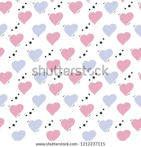stock-vector-cute-seamless-pattern-with-hearts-and-asterisks-in-pastel-colors-vector-good-for-print-on-fabric