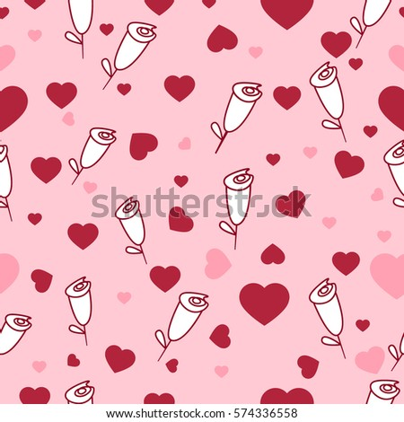 Cute seamless pattern with hearts and roses