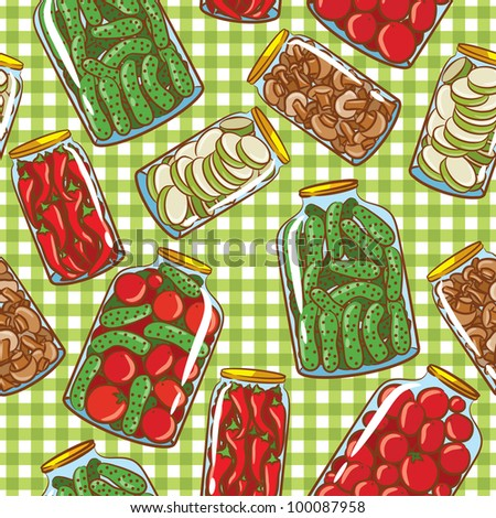 Cute seamless pattern with homemade pickles